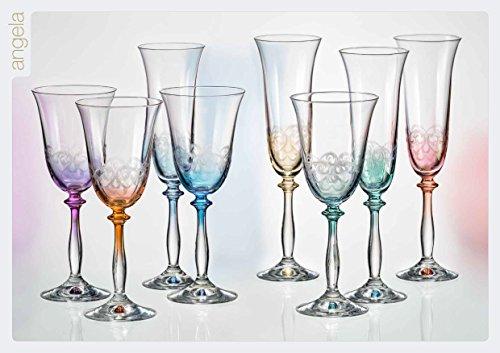 Bohemia Cristal 6 Copas de vino Angela, color, con el grabado, 250...