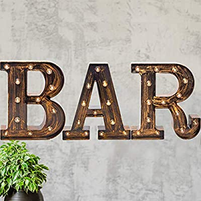 Pooqla Vintage Industrial BAR Sign Decorative Led Illuminated Letter Lights Marquee BAR Signs - Black Light Up Letters – Lighted Bar Decor (23.03-in x 8.66-in) (Vintage - BAR)