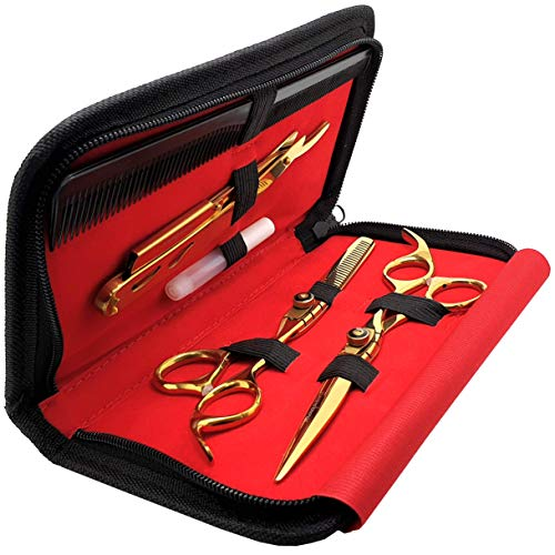 Saaqaans MSS-03 Professional Haircut Scissors Set - Package includes Barber Scissor, Thinning Shear, Straight Edge Razor, 10 x Derby Double Edge Blades & Hair Comb in Stylish Scissors Case (Gold USA)
