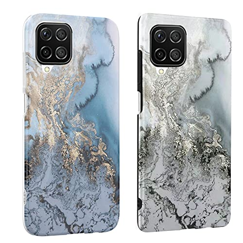 DREKEMU 2 Fundas para Samsung Galaxy A12 Funda Mármol, Carcasa Silicona Suave TPU Gel Cover Fina y Ligera, 2 Paquetes Case Patrón de Mármol para Samsung Galaxy A12, Azul y Gris