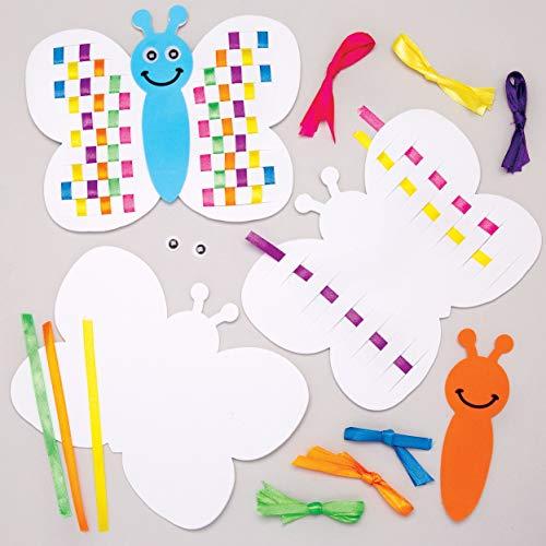 """Baker Ross Flecht-Bastelsets """"Schmetterlinge in Regenbogenfarben"""" (6 Stück) – Bänder und Schablonen für Kinder zum Gestalten"""