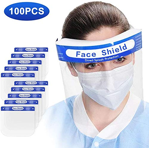 [US STOCK] 100PCS Face Shield Protect Eyes and Full Face, Anti-fog Face Shields with Protective Clear Film, Elastic Band and...