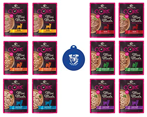Wellness CORE Grain Free Small Dog Breed Mini Meals in 6-Flavor Variety Pack (12 Pouches Total, 3 Ounces Each) Plus Silicone Can Lid