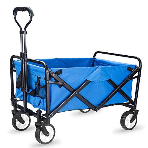 WHITSUNDAY Collapsible Folding Garden Outdoor Park Utility Wagon Picnic Camping Cart (Compact Size, Blue)