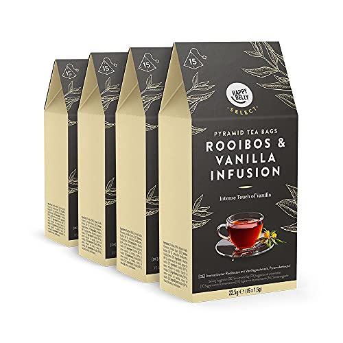 Amazon-Marke: Happy Belly Select Kräutertee Vanille, Teebeutel, 4 x 15 Pyramiden-Beutel