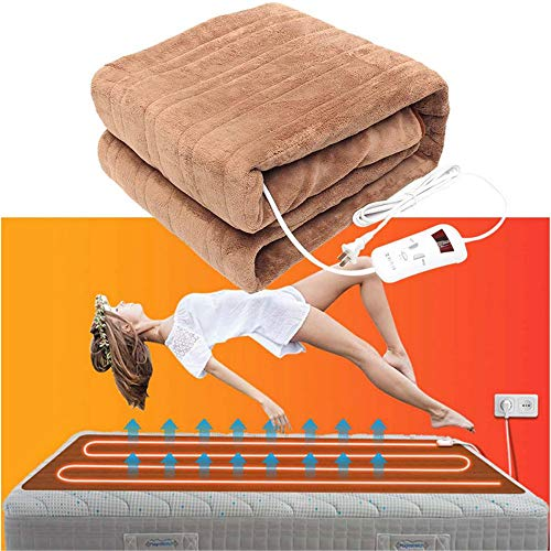 FACAI Heated Mat Waterproof Heating Carpet 220v Auto Electric Blanket 4 Gears Timing Electric Mattress Electric Blanket Mat,Brown-Heated