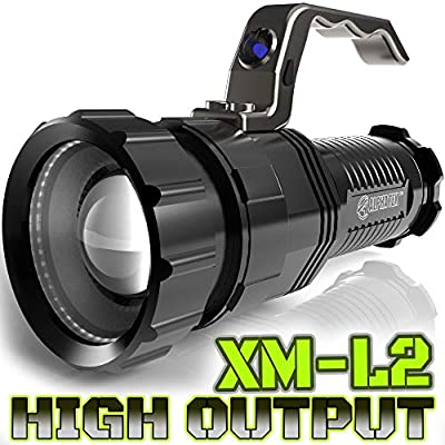 2,800 LUMEN | HIGH OUTPUT | RECHARGEABLE | ZOOMABLE Floodlight to Spotlight | X-Lamp XM-L2 CREE LED (20% Brighter Than T6 LED) TACTICAL FLASHLIGHT