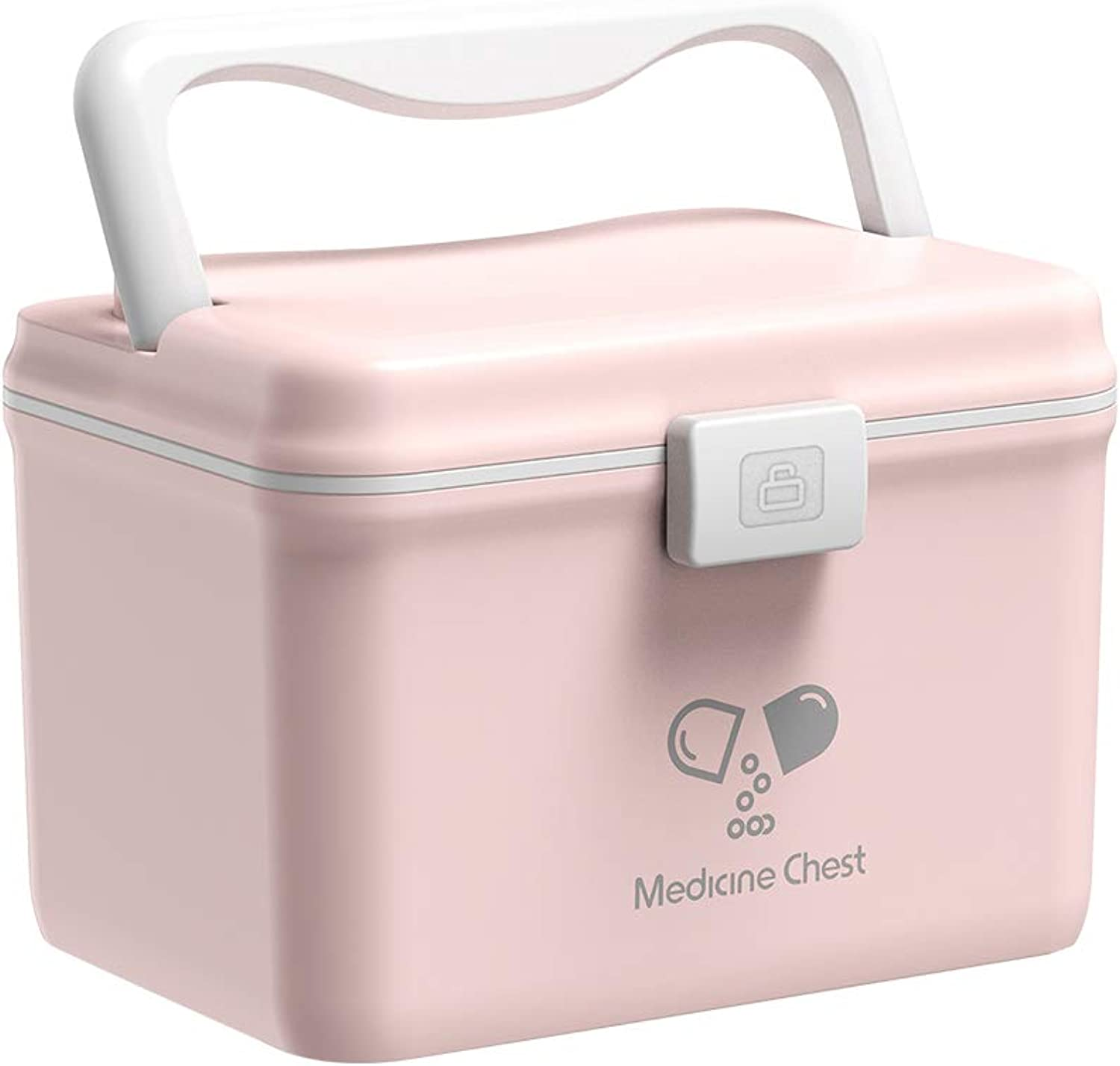 Glosen Medication Box Plastic Storage Box PP Medicine Box with Easy to Open Buckle Snap (Pink)