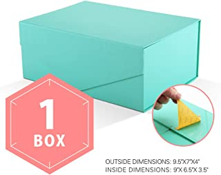 PACKHOME Gift Box Rectangular 9.5x7x4 Inches, Bridesmaid Box Rectangle Collapsible Box with Magnetic Lid for Gift Packaging (Matte Turquoise with Embossing, 1 Box)