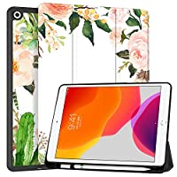 """MAITTAO iPad 10.2"""" 2019 Case with Apple Pencil Holder,Folio Stand Smart Cover Shockproof Soft TPU Back Shell For iPad 7th Generation 10.2 inch Tablet Sleeve Bag 2 in 1 Bundle, Tropical Plants"""