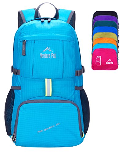 Venture Pal Ultralight Lightweight Packable Foldable Travel Camping Hiking Outdoor Sports Backpack Daypack (Blue)
