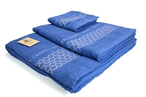 I LIKE Juego DE 3 Toallas 100% ALGODÓN - 1 Toalla de bidé (30x45 cm) 1 Toalla de Lavabo (50x90 cm) 1 Toalla de baño (100x140 cm) 380 gr Ref. Abeja Color Azul