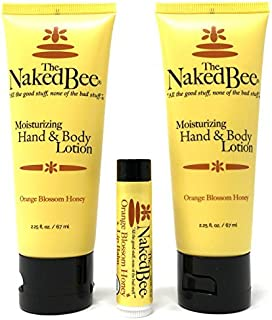 The Naked Bee Orange Blossom Honey Lotion and Lip Balm Set, Hydrating, Moisturizing, and Natural Skin Care Products Cruelt...