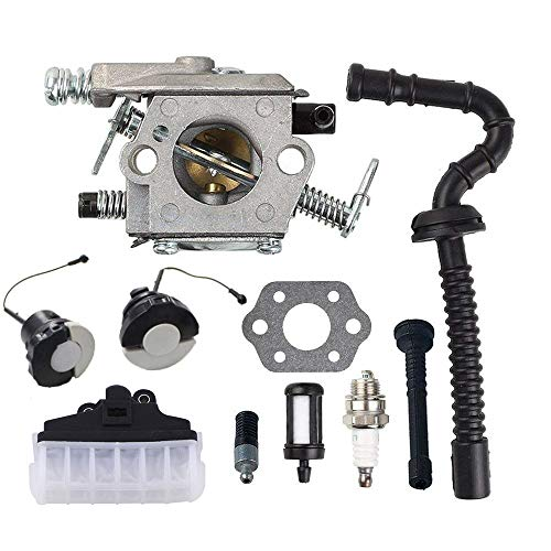 Poweka MS210 Carburetor with Repower Kit Air Filter Fuel Line Hose Tube Oil Cap for STIHL 021 023 025 MS230 MS250 Easy Start Version Chainsaw