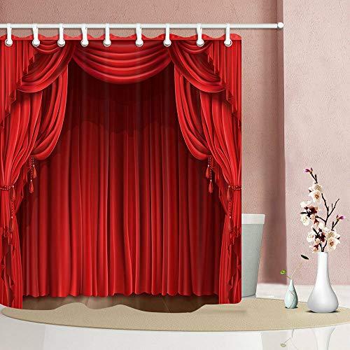 dsgrdhrty Geschlossener roter Bühnenvorhang Wasserdichter Duschvorhang antibakteriell und waschbar