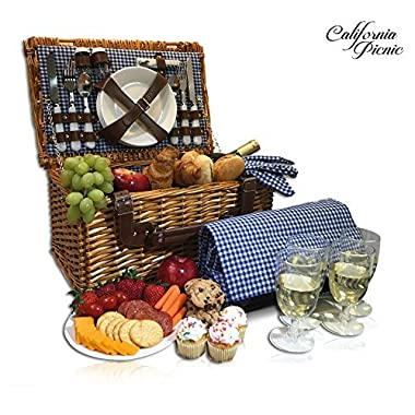 Picnic Basket Set for 4 Person | Picnic Hamper Set | Folding Picnic Blanket | Picnic Table Set | Picnic Plates | Picnic Supplies | Summer Picnic Kit | Picnic Utensils | Picnic Cutlery Set Flatware Set