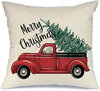 AENEY Farmhouse Christmas Pillow Cover 18x18 inch Red Truck Christmas Tree Throw Pillow for Christmas Decor Christmas Decorations Merry Christmas Throw Pillow Cover
