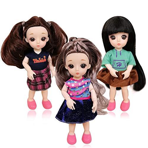 """EVA BJD 1/8 4.8"""" Mini Customized Puppen 13 verbunden Puppe ABS-Körper für Jungen und Mädchen Spielzeug-Geschenk (3Girl with Accessories)"""