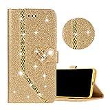 Coque pour Huawei P10 Lite Oro, Obesky Bling Glitter PU Cuir Housse de Protection avec Diamant Coeur...