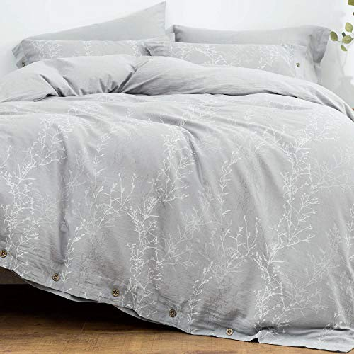 OREISE Duvet Cover Set King Size Washed Cotton Yarn, Jacquard Gray and White Thin Branch Pattern Floral Style 3Piece Bedding Set