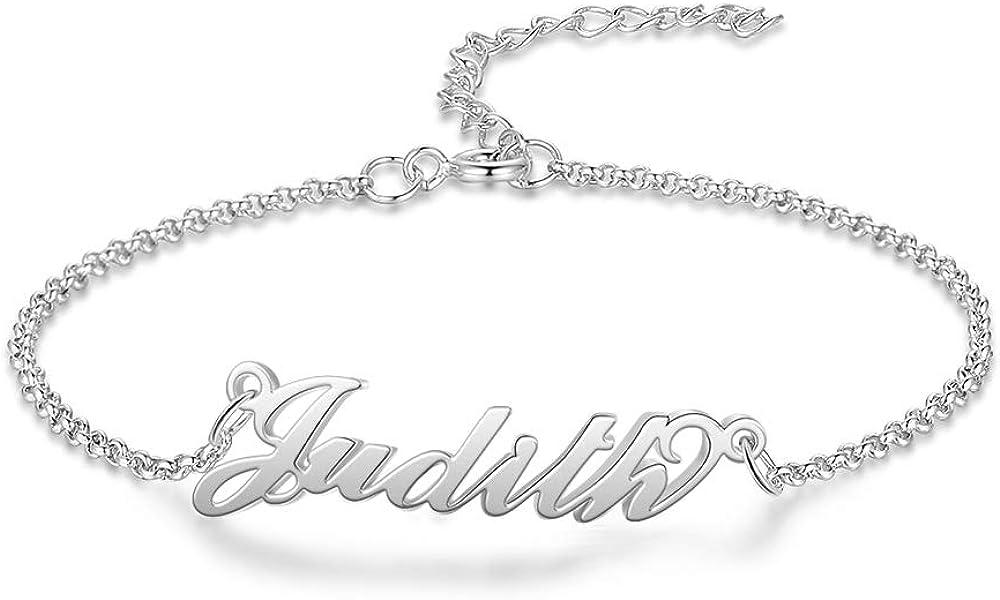kaululu Personalized Name Anklet Bracelet Custom Letter Infinity Name Gold Sliver Color Link for Girlfriend Wife