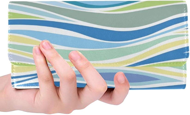 JOCHUAN Einzigartige benutzerdefinierte abstrakte horizontale linien streifen abstrakte frauen trifold brieftasche lange geldbörse krotitkarteninhaber fall handtasche B07Q84Z9WF