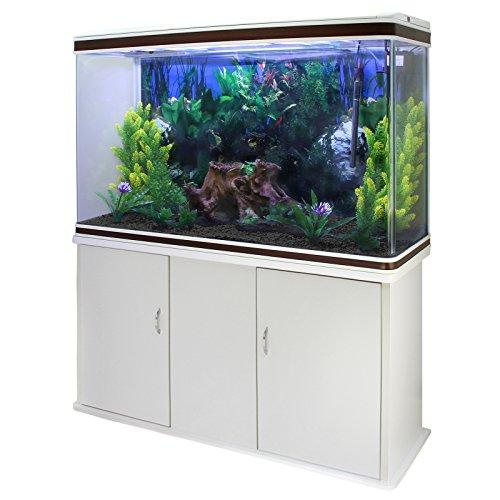 MonsterShop Aquarium, 300 Liter, Set und Zubehör für Start, Pflanzen, Kies, Möbel, Weiß, Gesamtgröße 143,5 cm x 120,5 cm x 39 cm