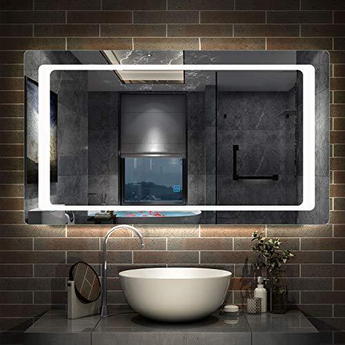 AicaSanitär Badspiegel mit LED Beleuchtung 140×80 cm, Touch, Anti-Beschlag, 6400K Kaltweiß Wandspiegel Mond Serie