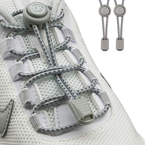 ONLY RUN Elastische Schnürsenkel ohne Binden mit Schnellverschluss perfektes Schnellschnürsystem für Kinder und Erwachsene - Schuhbänder - Gummischnürsenkel ohne Binden (1 Paar refl. grau)