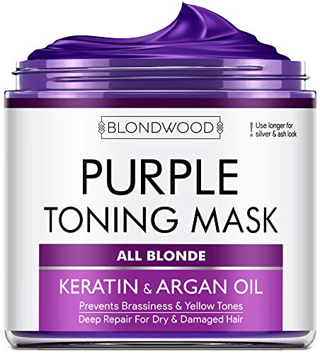 Purple Hair Mask with Retinol & Keratin - Made in USA - for Blonde, Platinum & Silver Hair - Banish Yellow Hues, Reduce Brassiness & Condition Dry Damaged Hair - Goes Well with Purple Shampoo - 8 oz