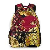 AMIGGOO Mochila informal ,Planta de bambú rojo negro dorado japonés chi, Mochila de viaje con cremallera , Para negocios, escuela, trabajo, portátil Mochila 16 'X11.5 X8