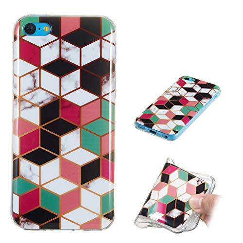 Yunbaozi Funda Mármol iPhone 5C Carcasa Suave Silicona Marble Case IMD Piedra Anti-Rasguños Anti-Huella Digital Patrón Geometric Granito, Celosía Colorida Estereoscópica