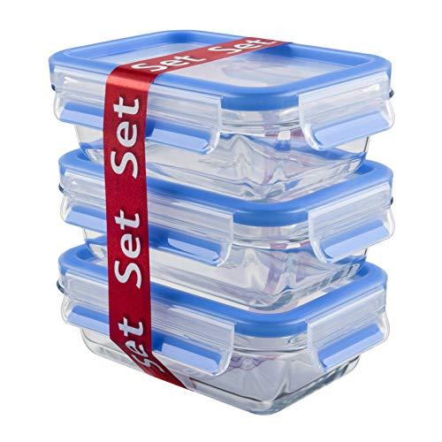 Emsa 514170 Clip & Close Glas Frischhaltedosen | 3er Set (3x 0,5L) | Backofengeeignet | 100% dicht | Frische- Dichtung | Blau