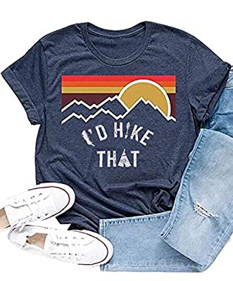 I'd Hike That Mountain T-Shirt Women Casual Letter Print Short Sleeve Graphic Tees Tops (Navy, M)