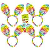 Easter Bunny Ears Rainbow Colored ~ Set of 4 Plush Bunny Ears Headband (Plush Ear Headband)