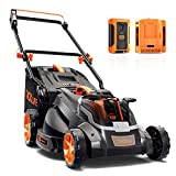 TACKLIFE Cordless Lawn Mower, 16 Inch Brushless Lawn Mower, 50L Grass Box & Mulch Plug, 40V Max 4.0Ah Battery, 6 Mowing Heights, 3 Operation Heights, Low Noise