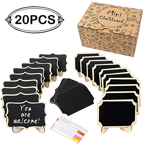 OurWarm 20 Pack Mini Chalkboard Signs with Easel Stand, Small Chalkboard Labels Wooden Blackboard for Wedding Signs, Food Labels, Table Numbers, Message Board, Place Card and Event Decorations