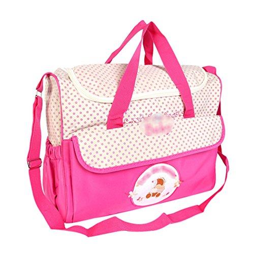 Jitong Multifunción Bolsa de Hombro Tote para Madre Bordado Gran Capacidad Bolso Pañalera para Bebé (Rosa, 38 * 18 * 30cm)
