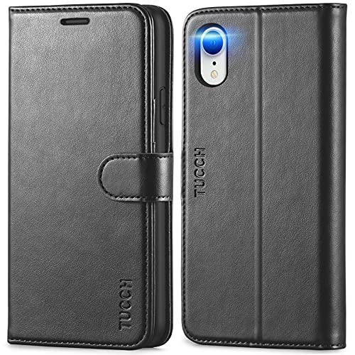 TUCCH iPhone XR Hülle, Handyhülle [Verdicktes TPU] [RFID Schützt] [Kartenfächer] [Standfunktion] [Magnet], Stoßfeste Schutzhülle [Lifetime Garantie], Klapphülle Kompatibel für iPhone XR 6,1, Schwarz