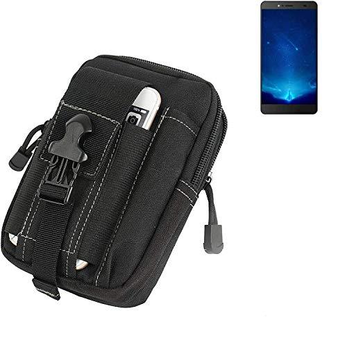 K-S-Trade Gürtel Tasche Für Bluboo Maya Max Gürteltasche Holster Schutzhülle Handy Hülle Smartphone Outdoor Handyhülle Schwarz Zusatzfächer