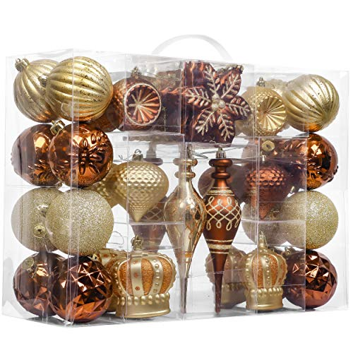 Valery Madelyn 50ct Noble Shatterproof Christmas Ball Ornaments Decoration Copper Gold, 2.36Inch-7.09 Inch for Christmas Tree Decorations