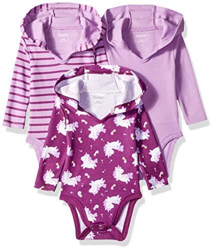 Hanes unisex baby Ultimate Flexy 3 Pack Hoodie Bodysuits Bodystocking, Purple Fun, 0-6 Months US
