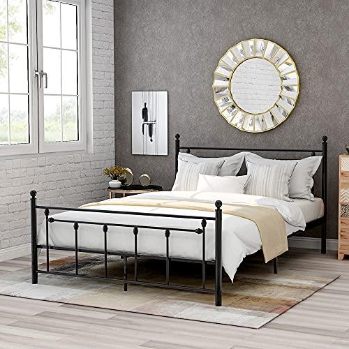 Metallbett 140x200 cm Schwarz auf Stahlrahmen mit Lattenrost Bettgestell mit Kopfteil Design Doppelbett Ehebett Gästebett (Schwarz- 3, 140 X 200 cm)