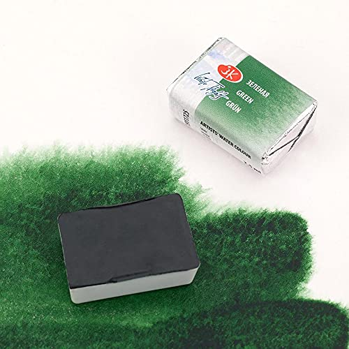 White Nights Watercolor Paint full pan, 2.5 ml each, basic vibrant professional extra fine (725 Green)