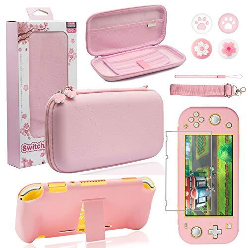 BRHE - Funda de viaje para Nintendo Switch Lite, funda protectora rígida con soporte, protector de pantalla de cristal, tapas de agarre para pulgar Sakura 9 en 1