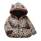 WEXCV Baby Jacke Kinder Mädchen Baumwolljacke Leopard Plüsch Herbst Winterjacke Kleinkinder Reißverschluss Steppjacke Kapuzenmantel Warm Niedlich Kleidung Outerwear 6M-3 Jahre
