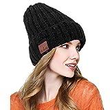 Bluetooth Mütze, Unisex Mütze Mit Bluetooth Kopfhörerwinter Warm Stricken Hut v4.2 Drahtlose Musik Kopfhörer für Den Winter Laufen Skifahren Eislaufen Wandern(Schwarz)
