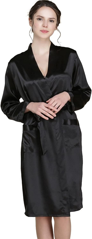 Forever Silk Women's Pure Silk Robe Bathrobe Sleepwear Gift(One Robe)