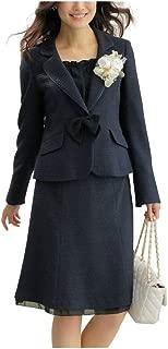 [nissen(ニッセン)] フォーマル セレモニー スカートスーツ セットアップ (ジャケット + スカート) ラメ入 変り織 胸当て・サテンリボン付 蓄熱裏地使用 卒業式 卒園式 入学式 入園式 レディース