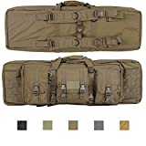 Lancer Tactical 600 Denier Polyester Double Carbine Soft Case Accessory Pouches MOLLE Webbing Secondary Gun Compartment Quick Detach Buckles Inner Storage Backpack Straps (Coyote Brown)